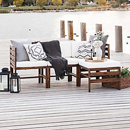 Forest Gate™ 4-Piece Modular Acacia Wood Patio Sectional Set in Dark Brown/White
