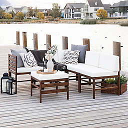 Forest Gate™ 6-Piece Modular Acacia Wood Patio Sectional Set in Dark Brown/White