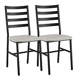 Forest Gate™ Metal/Wood Dining Chairs in Stone Grey (Set of 2)