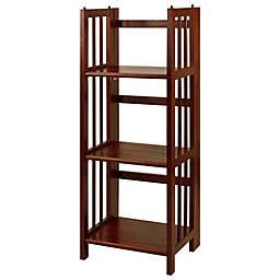 3-Shelf Folding 14-Inch Wide Bookcase in Walnut