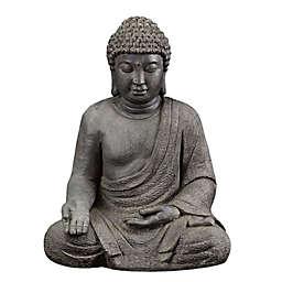 Luxen Home Meditating Buddha Composite Garden Statue in Grey