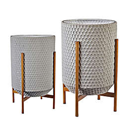 Luxen Home Metal Floor Planters in Grey (Set of 2)