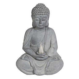 Luxen Home Meditating Buddha Garden Statue in Grey with Solar LED Light