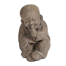 Luxen Home Quiet Little Buddha Garden Statue in Grey