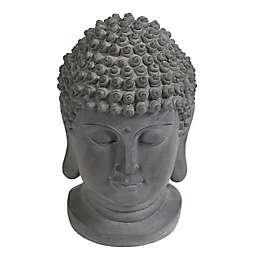 Luxen Home Composite Buddha Head Garden Statue in Grey