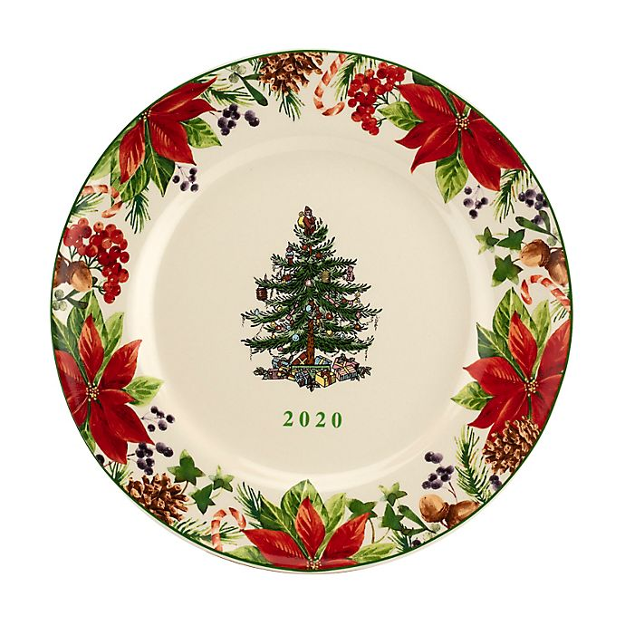 Spode Christmas-Tree 2020 Annual Edition Christmas-Plate; White, Green And Red Spode® Christmas Tree 8 Inch 2020 Annual Collector's Plate in