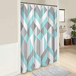 Marble Hill 72-Inch x 72-Inch Lena Shower Curtain in Aqua/Grey