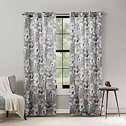 Mercantile Altura Floral 95-Inch Grommet Light Filtering Window Curtain Panel in Grey