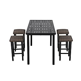 Barrington 5-Piece High Patio Dining Set in Brown