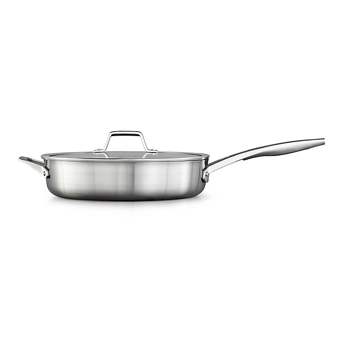 Alternate image 1 for Calphalon® Premier™ Stainless Steel 5 qt. Covered Saute Pan with Helper Handle