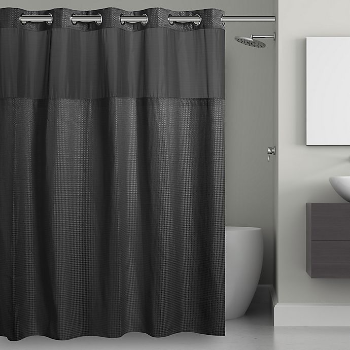 Alternate image 1 for Hookless® Waffle 71-Inch x 74-Inch Fabric Shower Curtain in Black