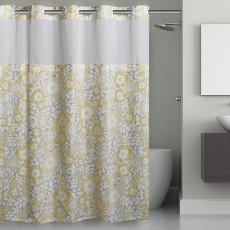 Fan Fl Hookless Shower Curtain, Gray White And Yellow Shower Curtains