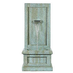 Luxen Home Stone and Patina Tall Outdoor Fountain in Grey