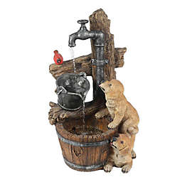 Luxen Home Resin Puppies Water Pump Fountain in Brown/Tan with LED Lights