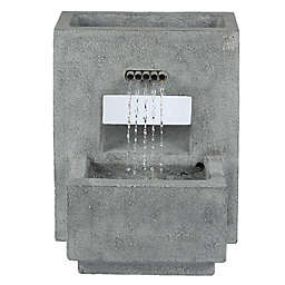 Luxen Home Stone Rectangular Pedestal Fountain in Grey with  LED Lights