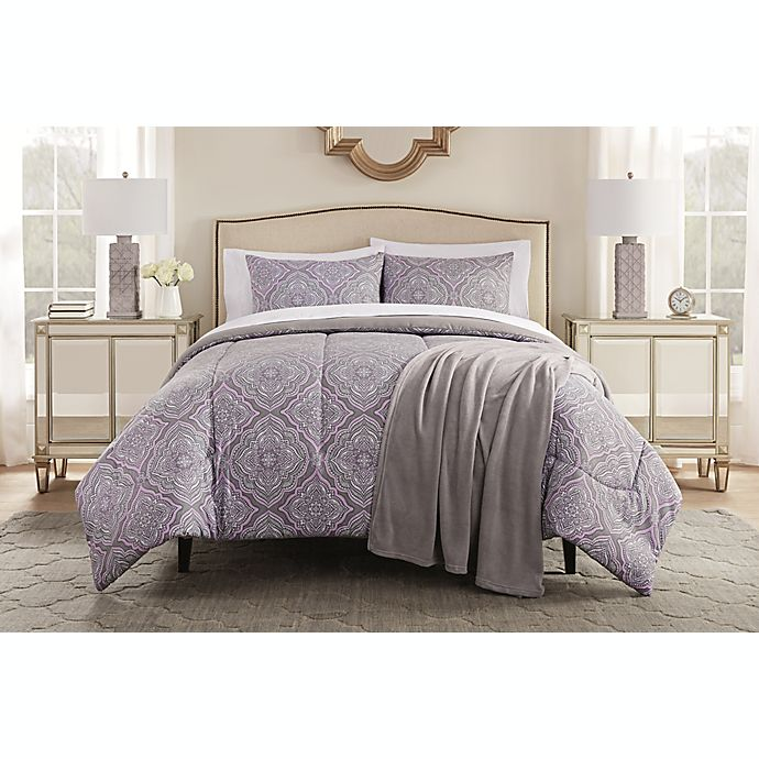 Alternate image 1 for Lilly 8-Piece Queen Comforter Set in Purple