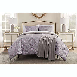 Lilly 8-Piece Queen Comforter Set in Purple