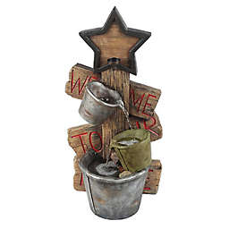 Luxen Home Star and Pots Outdoor Fountain in Grey/Brown with Pump
