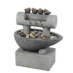 Luxen Home Cement Birds Post and Pedestal Patio Fountain in Grey