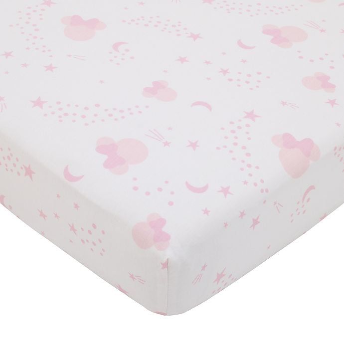 Alternate image 1 for Disney® Twinkle Minnie Crib Sheet in Pink