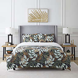 Pointehaven Tropical Nights 2-Piece Twin/Twin XL Duvet Cover Set in Black
