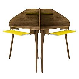 Manhattan Comfort Bradley Wood 4-Piece Cubicle Desk in Rustic Brown/Yellow
