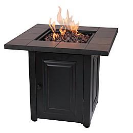 Vanderbilt Gas Square Outdoor Firepit in Black