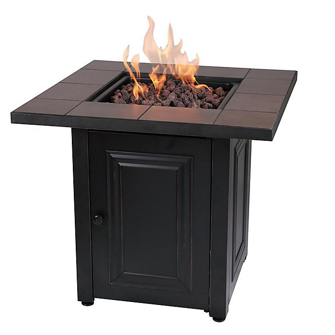 Alternate image 1 for Vanderbilt Gas Square Outdoor Firepit in Black