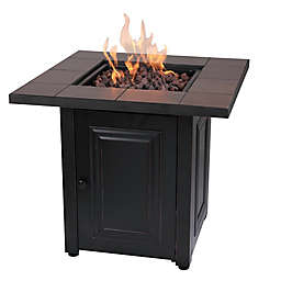Vanderbilt Gas Square Outdoor Firepit in Black