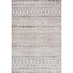 JONATHAN Y Ifrane Berber Geometric Stripe 8' x 10' Area Rug in Gray/Cream