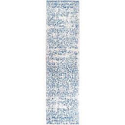 JONATHAN Y Azul Filigree 2' x 8' Runner Rug in Blue and White Cream/Blue