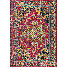 JONATHAN Y Brooklyn Geometric Medallion 4' x 6' Area Rug in Red/Pink