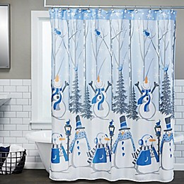 SKL Home Snow Buddies 70-Inch x 72-Inch Shower Curtain and Hooks Set in Blue