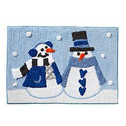 """SKL Home Snow Buddies 30"""" x 20"""" Bath Rug in Blue"""