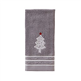 Holiday Fir Hand Towel in Silver