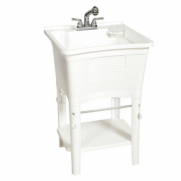 Alternate image 1 for Zenna Home® ELT2006W 24-Inch x 24-Inch Poly Freestanding ErgoTub Utility Laundry Tub in White