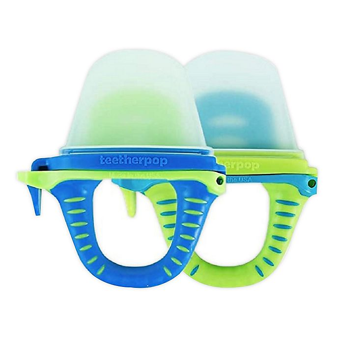 Alternate image 1 for teetherpop™ 2-Pack Fillable Baby Teether Popsicles in Blue/Teal