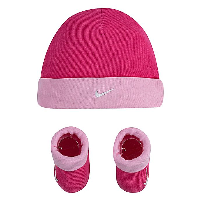 Alternate image 1 for Nike® Swoosh Infant 2-Piece Hat and Booties Set in Dark Pink