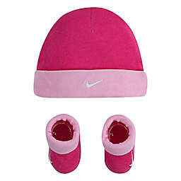 Nike® Swoosh Infant 2-Piece Hat and Booties Set in Dark Pink