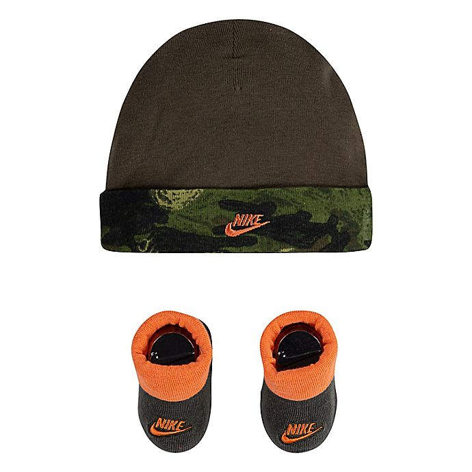 Alternate image 1 for Nike® Newborn Futura Sketch Hat & Booties Set in Camo