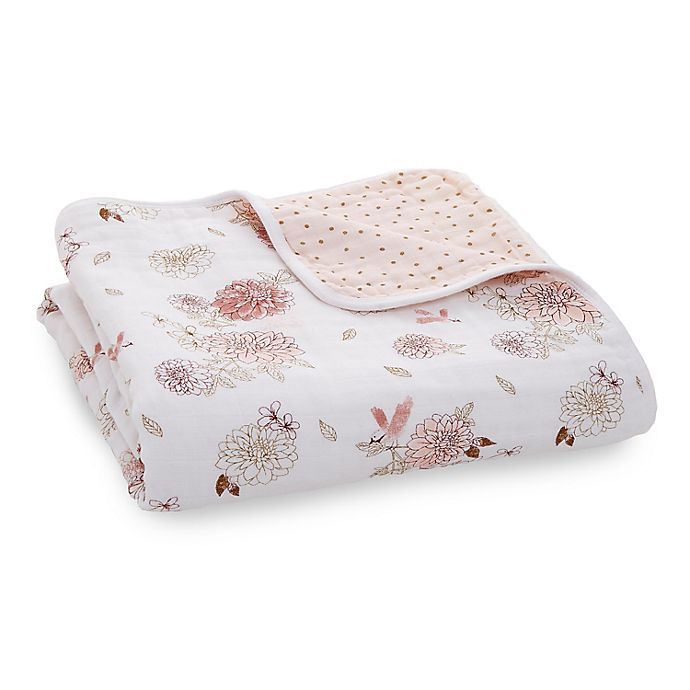 Alternate image 1 for aden + anais™ Dahlias Classic Dream Muslin Blanket in Pink