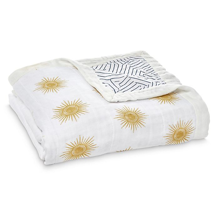 Alternate image 1 for aden + anais™ Golden Sun Muslin Blanket in Grey