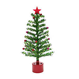 Rotating 18-Inch Tinsel Christmas Tree with White LED Lights