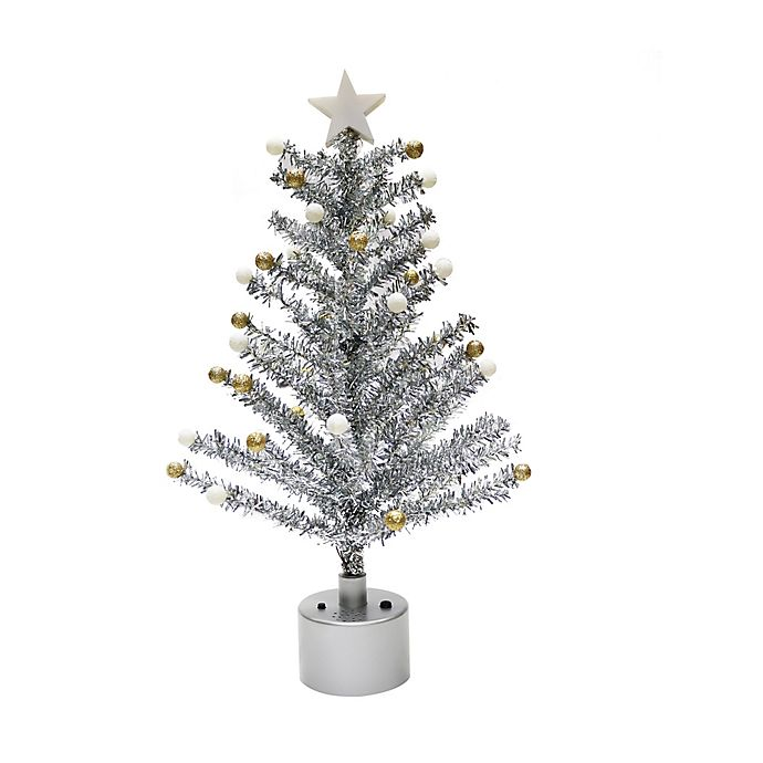 Alternate image 1 for Rotating 18-Inch Tinsel Christmas Tree in Silver with White LED Lights