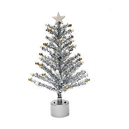 Rotating 18-Inch Tinsel Christmas Tree in Silver with White LED Lights