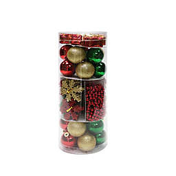 Traditional 100-Count Shatterproof Ornament Set