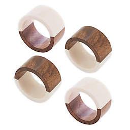 Saro Lifestyle Wood Resin Napkin Rings in White (Set of 4)