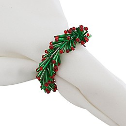 Saro Lifestyle Beaded Wreath Napkin Rings in Green/Red (Set of 4)