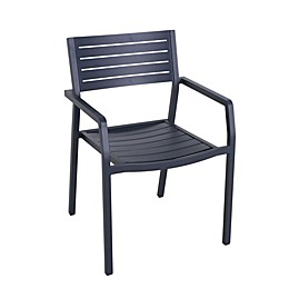 Destination Summer Slatted Steel Stackable Patio Chair in Navy