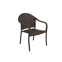 Wicker Stackable Patio Chair in Brown